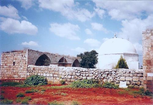 Exterior view of a Mamluk Caravanserai complex, including the mausoleum of Nabi Yamin, traditionally believed to be the tomb of Benjamin, located outside Kfar Saba, Israel