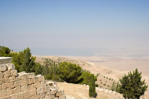 Dead Sea parted by Moses. A view from Mount Nebo, Jordan. According to the Bible, the exact location of Moses' grave is unknown, in order to impede idolatry